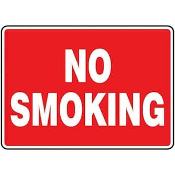 Accuform MSMK570VP Safety Sign, No Smoking (white/red), 10 X 14, Plastic