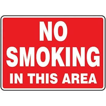 Accuform MSMKG25BVP Safety Sign, No Smoking In This Area, 7 X 10