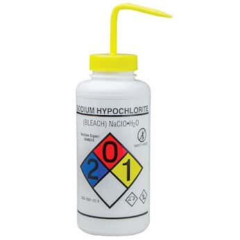 Bel-Art F12432-0015 GHS Labeled Safety-Vented Sodium Hypochlorite (Bleach)  Wash Bottles, LDPE, 1000 mL: 2/Pk