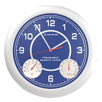 time temperature and humidity analog wall clock from cole parmer