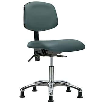 Cole Parmer Ergonomic Chair Vinyl Bench Height Blue No Arms Chrome Casters No Foot Ring From Cole Parmer Germany