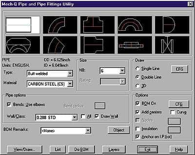 Piping for AutoCAD Lite 2000 from Cole-Parmer