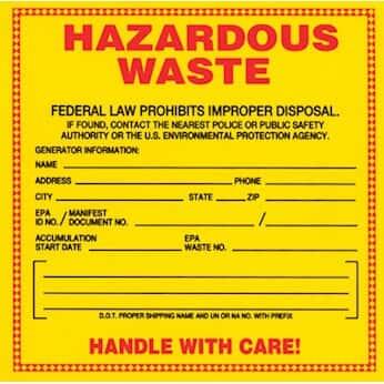 national marker hw1 safety labels hazardous waste 6 - Hazardous Waste Labels