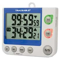 Digi-Sense Traceable® Flashing LED Big-Digit Timer with Calibration; Dual-Channel