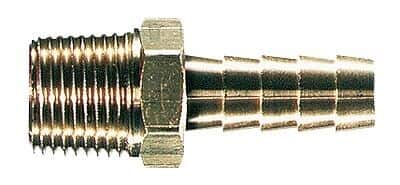 "Masterflex Fitting, Brass, Straight, Hose Barb to Threaded Adapter, 1/4"" ID x 1/8"" NPT(M); 5/PK"