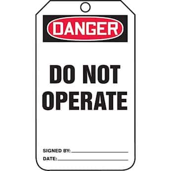 Accident Prevention Tags Danger Do Not Operate From Cole