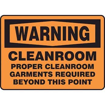 Warning: Cleanroom Signs from Cole-Parmer